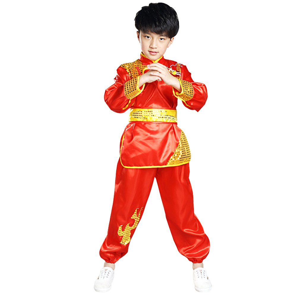 Fuyingda Kids Boys Kung Fu Uniform Tai Chi Clothing Martial Arts Sportswear Suit