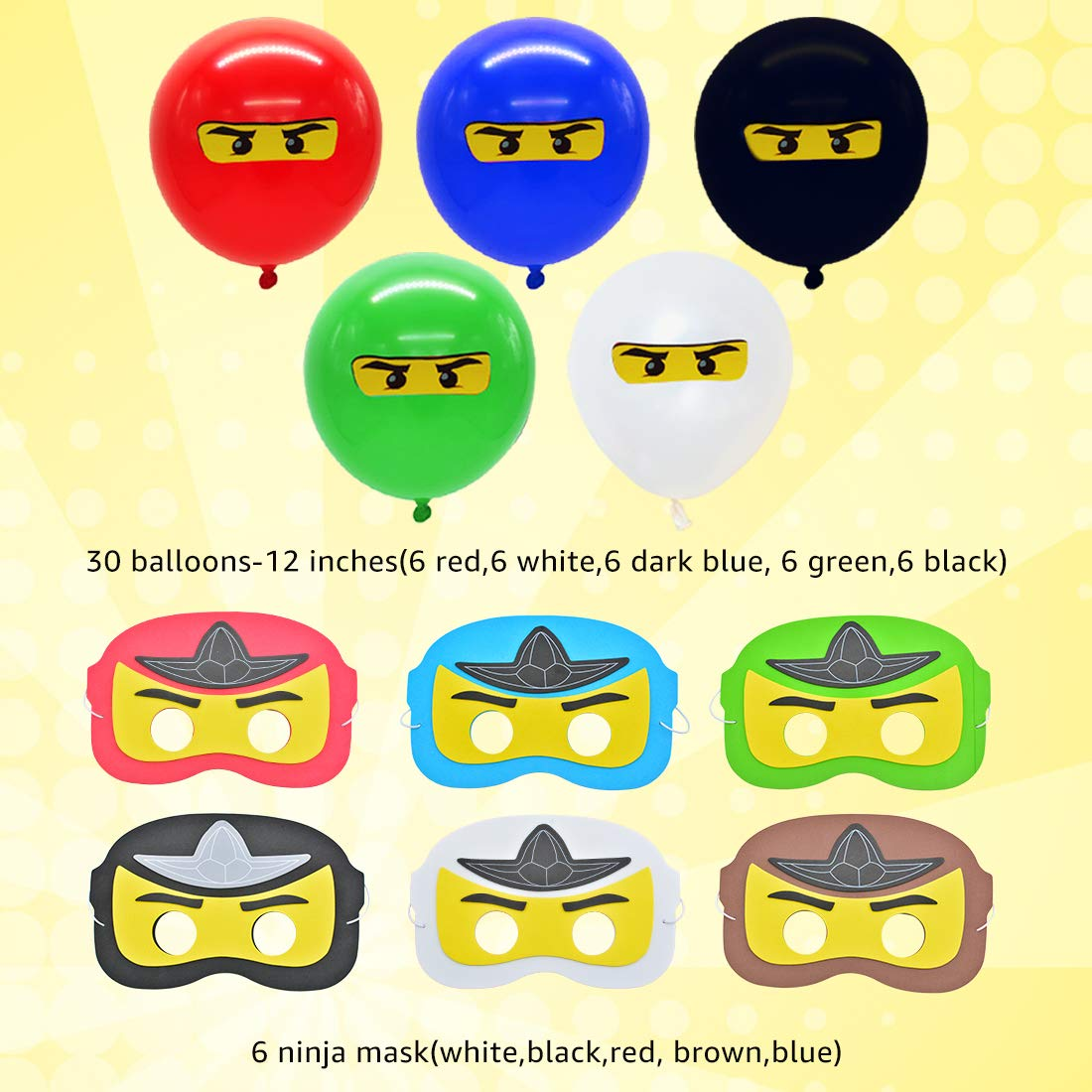 Ninja Party Máscaras Globos Decoraciones Party Favors for ...