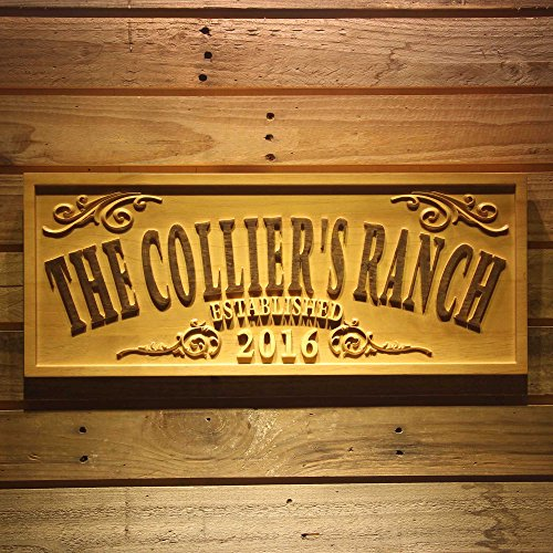 - ADVPRO wpa0354 Name Personalized The Ranch Farm Decoration Established Year Gifts Wood Engraved Wooden Sign - Standard 23
