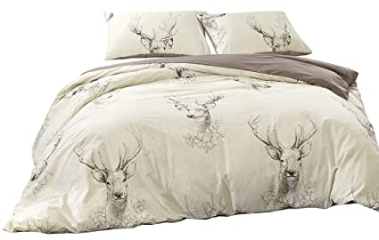Stags Printed Duvet Cover Set Double Size Ivory Grey Artistic