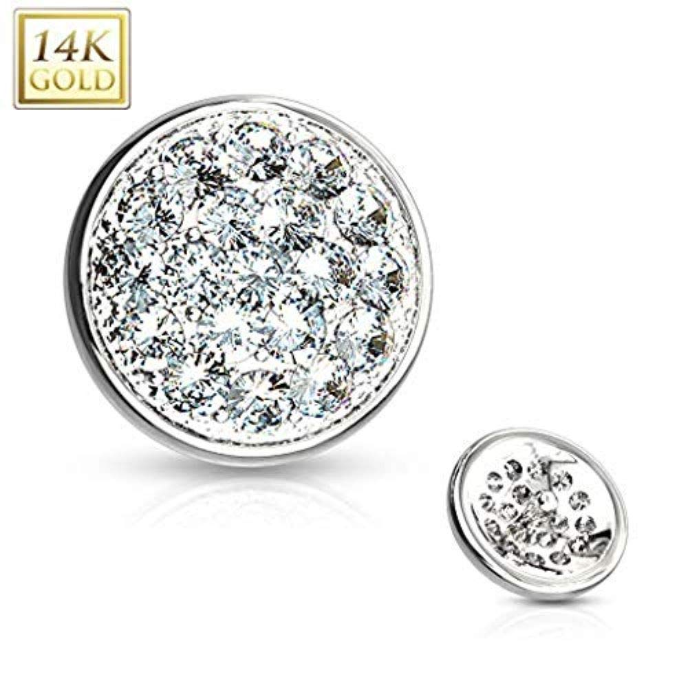 Covet Jewelry CZ Paved Flat Dome Dermal Anchor Top (White Gold/Clear) by Covet Jewelry