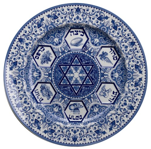 (Spode 696737258526 Judaica Seder Plate, one, Blue & White)