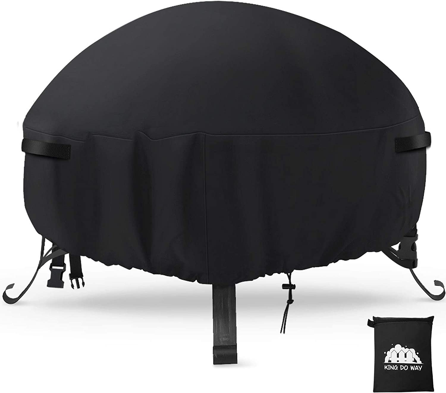 king do way Fire Pit Cover with 2Handle and 2Buckles Waterproof Anti-Crack Fade-Resistant Heavy Duty Outdoor Round Patio Firepit Furniture Cover 38'' L x 38'' W x 22'' H