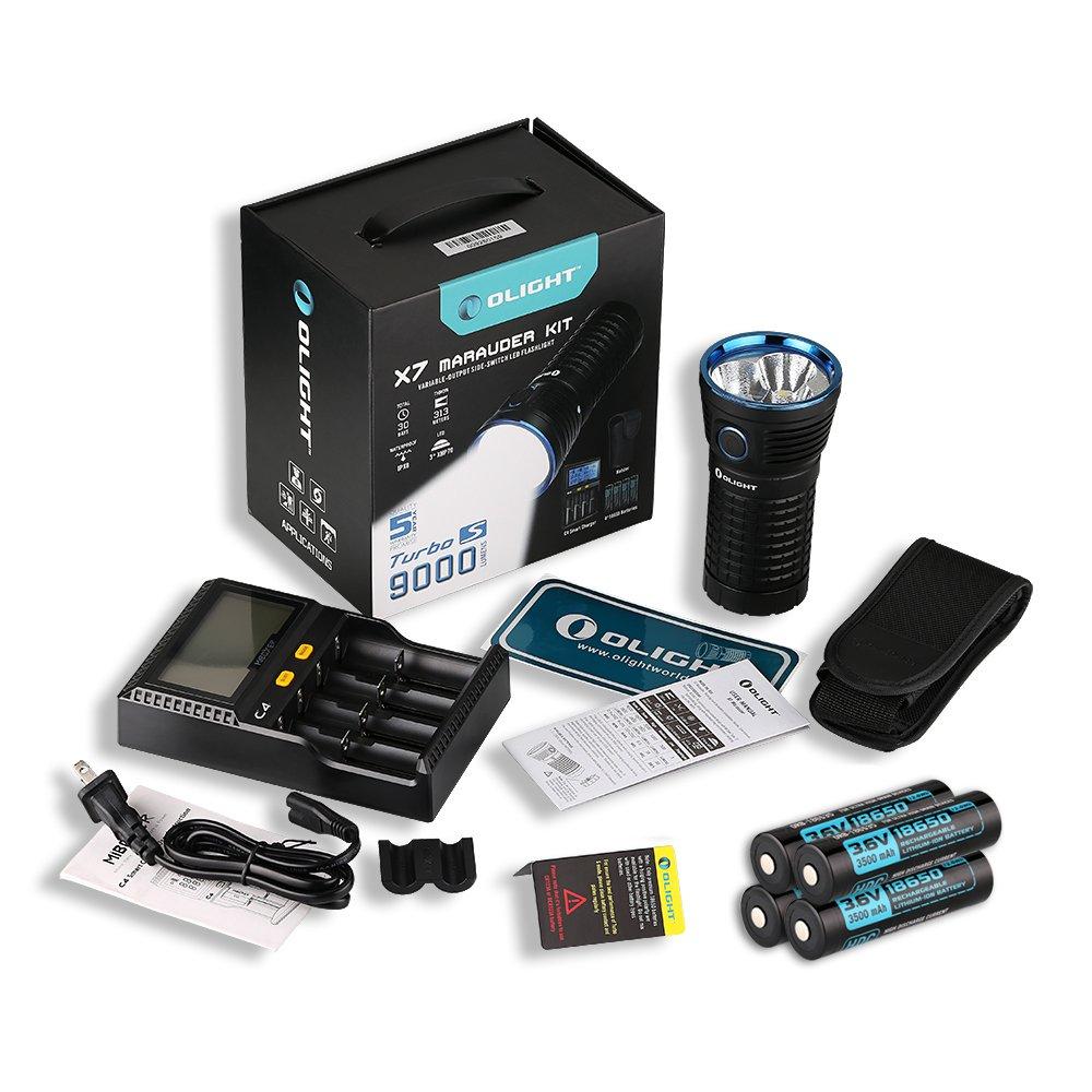 Olight® X7 Marauder 9000 Lumen Taschenlampe mit 3 x Cree XHP70 CW/NW LED - Super hell, Kompakt und Tragbar (Kaltweiß/Neutralweiß Licht)