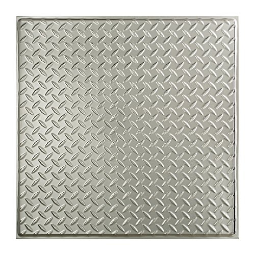 Fasade Easy Installation Diamond Plate Revealed Edge Brushed Aluminum Lay In Ceiling Tile / Ceiling Panel (2' x 2' - Plate Diamond Panels