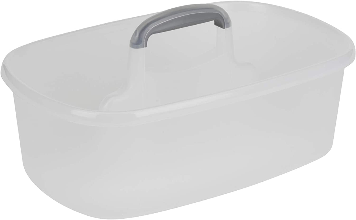 Casabella Cleaning Handle Bucket, Clear/Silver Rectangular Storage Caddy, Graphite, 4 gallons, Translucent: Home & Kitchen