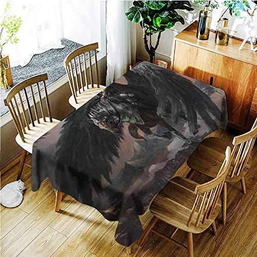 TT.HOME Fashions Rectangular Table Cloth,Fantasy World Pegasus King Leading in The Dark Ages Imaginary Magic Story Artwork Print,Fashions Rectangular,W60x120L,Black Brown