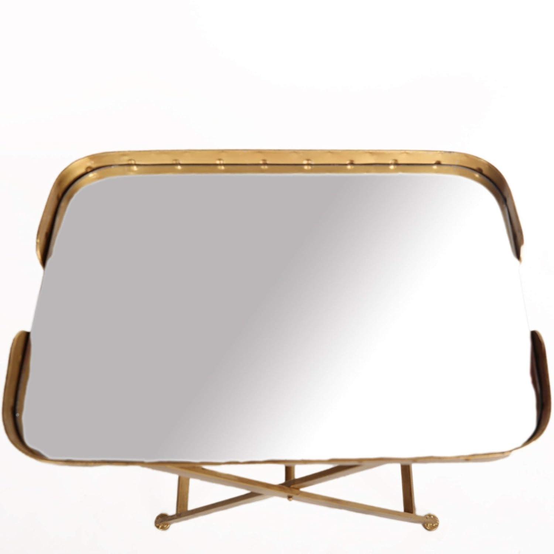 Antyki24 Tavolino Pieghevole Dorato con Specchio in Stile Shabby Chic da Salotto 65 x 57 x 39 cm