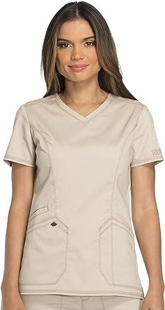 Dickies Essence Womens V-Neck Solid Scrub Top X-Small Khaki ...