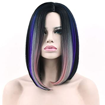 Amazon Com Women Straight Bob Short Hair Ombre Pink Gray Blue Wig