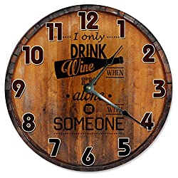Sugar Vine Art I ONLY DRINK WINE CLOCK Decorative Round Wall Clock Home Decor Large 10.5 BARREL CASKET CRATE Printed Wood Image