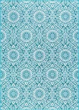 Chesterfield Transitional Geometric Teal Non-Skid Rectangle Area Rug, 4′ x 5′ Review