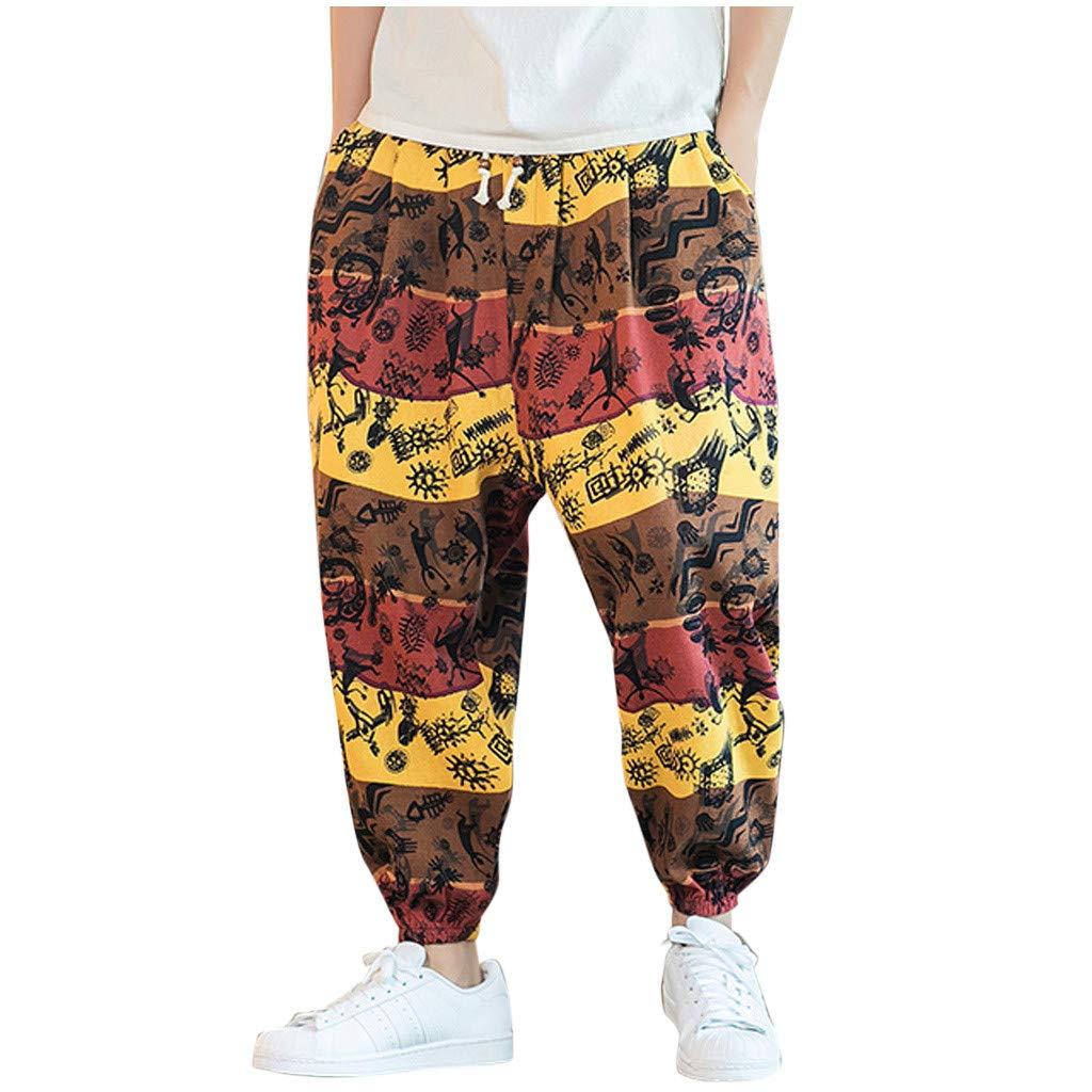 FEDULK Men's Vintage Lantern Pant Plus Size Retro Ethnic Print Cotton Linen Holiday Casual Baggy Trousers(Yellow, XX-Large) by FEDULK