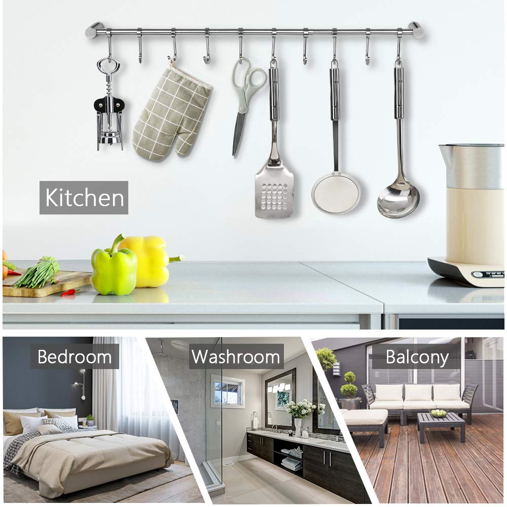 Nidouillet Kitchen Rail Wall Mounted Utensil Racks with 10 Stainless Steel Sliding Hooks for Kitchen Tool, Pot Lid, Pan, Towel AB005 by Nidouillet