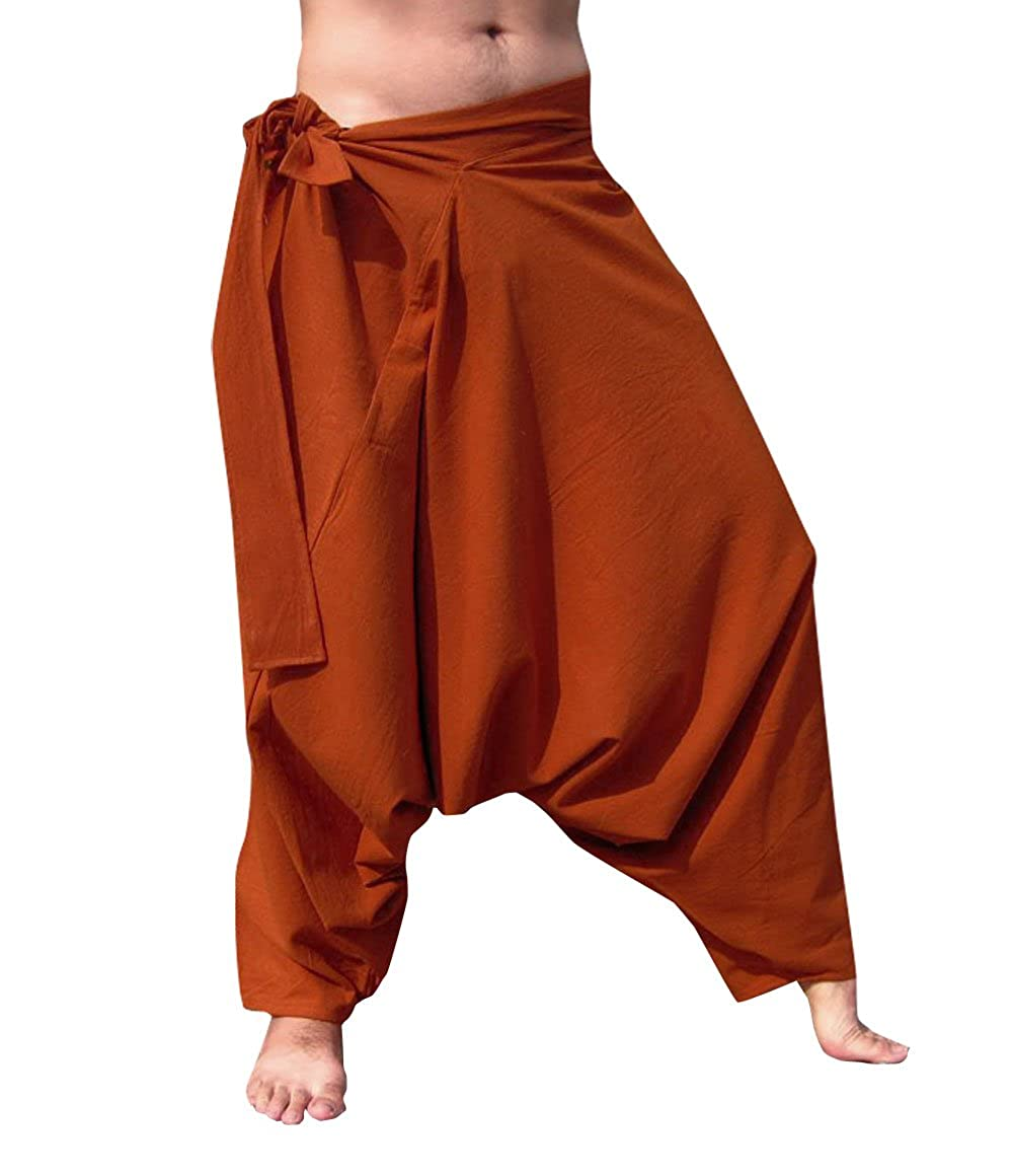 RaanPahMuang Warm Thick Muang Cotton Side Tie Aladdin Baggy Mao Pants
