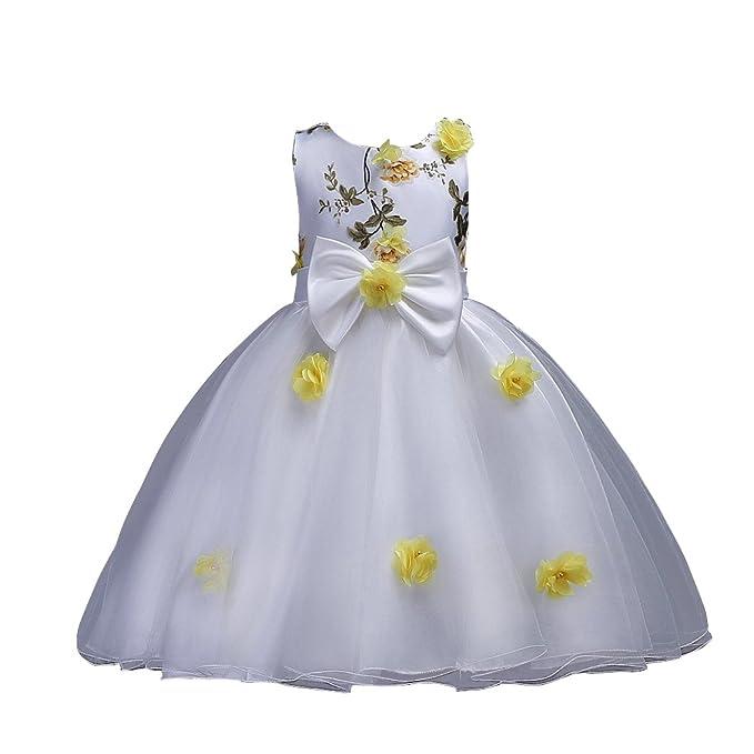 b0936da75 VLUNT Vestido Elegante de Flores Boda con sin Mangas para Niña - 5 colores