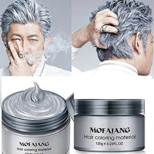 Temporary Hair Color Wax, GETHOME Women Men Temporary Disposable Hairstyle Mud Cream Hair Modeling Dye Cream Pomades for Party, Cosplay, Nightclub, Masquerade, Halloween (Temporary Grey Hair Dye Halloween)