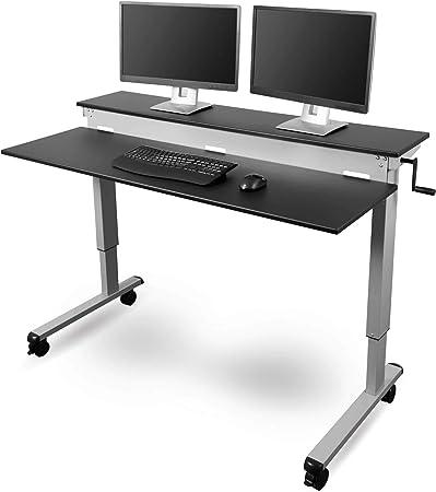 Stand Up Desk Store 100cm L/änge H/öhenverstellbarer Schreibtisch Rahmen silber//Holz schwarz
