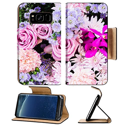 Luxlady Premium Samsung Galaxy S8 Plus S8+ Flip Pu Leather Wallet Case IMAGE ID: 34629197 Colorful nature flower - Illustration Camera Lens