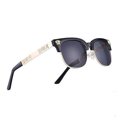 ea6f281815e5 Amazon.com: VITRU Medusa - Retro Rivet Sunglasses (Black x Black ...