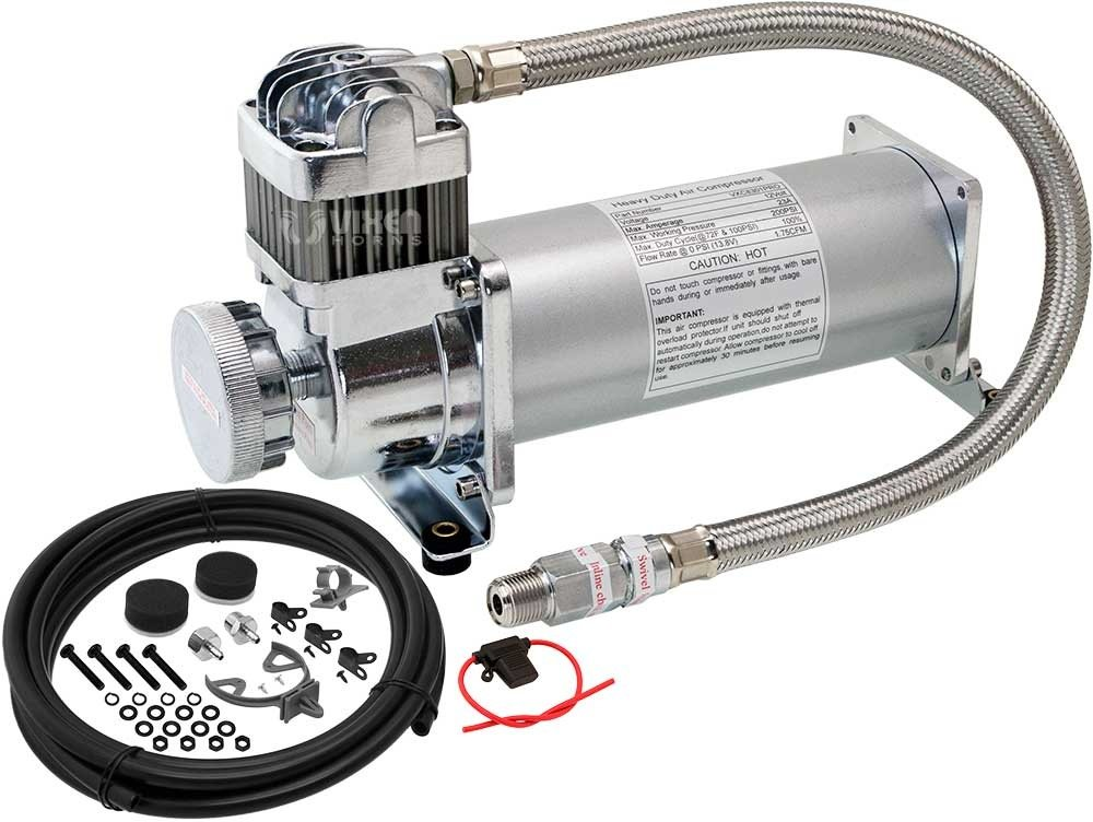Vixen Horns 200 PSI Heavy Duty Suspension/Air Ride/Bag/Train Horn Air Compressor/Pump with 3/8'' Stainless Steel Braided Hose, 3/8'' NPT Check Valve and Remote Mount Air Filter Kit 12V Chrome VXC8301PRO