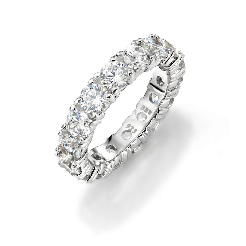 NYC Sterling 4mm Sterling Silver 925 Cubic Zirconia Cz Eternity Engagement Wedding Band Ring (10)