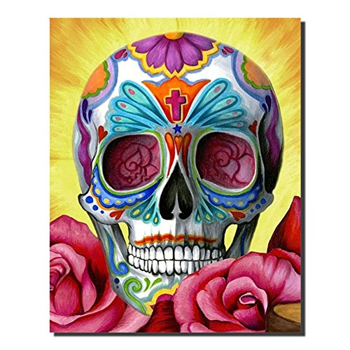 DIY Diamond Painting by Number kits Crystal Cross Stitch Arts and Crafts Decor for Home Wall (colorful skull) by Colors of Rainbow