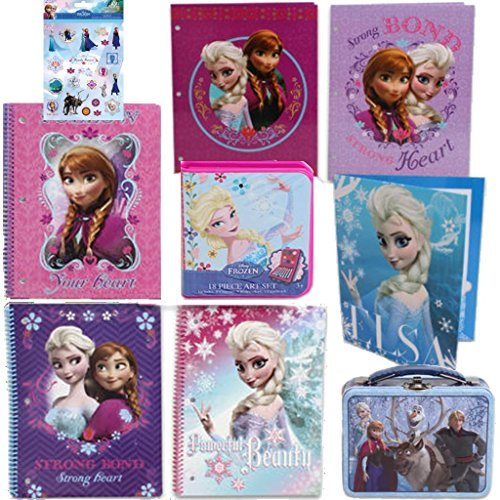 Disney Frozen Back To School Value Stationary Set For Kids - 3 Spiral Notebooks (In 3 Fun Designs - 50 pages 100 sheets each), 3 Folders, Crayons & Paint Art Set, 1 Small Tin Lunchbox (5.5 in x 4 in Featuring Anna, Elsa, Olaf, Sven and Christof Plus Bonus Pack of Frozen Stickers