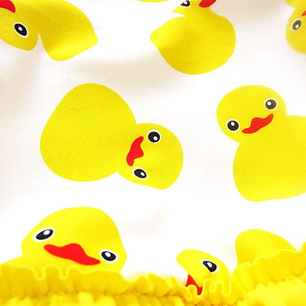 DressLksnf Kinder M/ädchen Karikatur Einteiliger Bikini R/üschen Badeanzug M/ädchen Karikatur-Ente-Drucken Kleid Badeanzug Baby M/ädchen Badekappe Badeanzug M/ädchen Strand /Ärmellos Badebekleidung