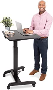 Stand Steady Multifunctional Tilting Mobile Podium   Portable Sit Stand Lectern with Pneumatic Height Adjustments   Rolling Laptop Stand with Adjustable Tilt for School & Office (Black)