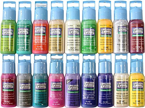 Plaid Gallery Glass Window Color Paint Set (2-Ounce), PROMOGGII Best Selling Colors II