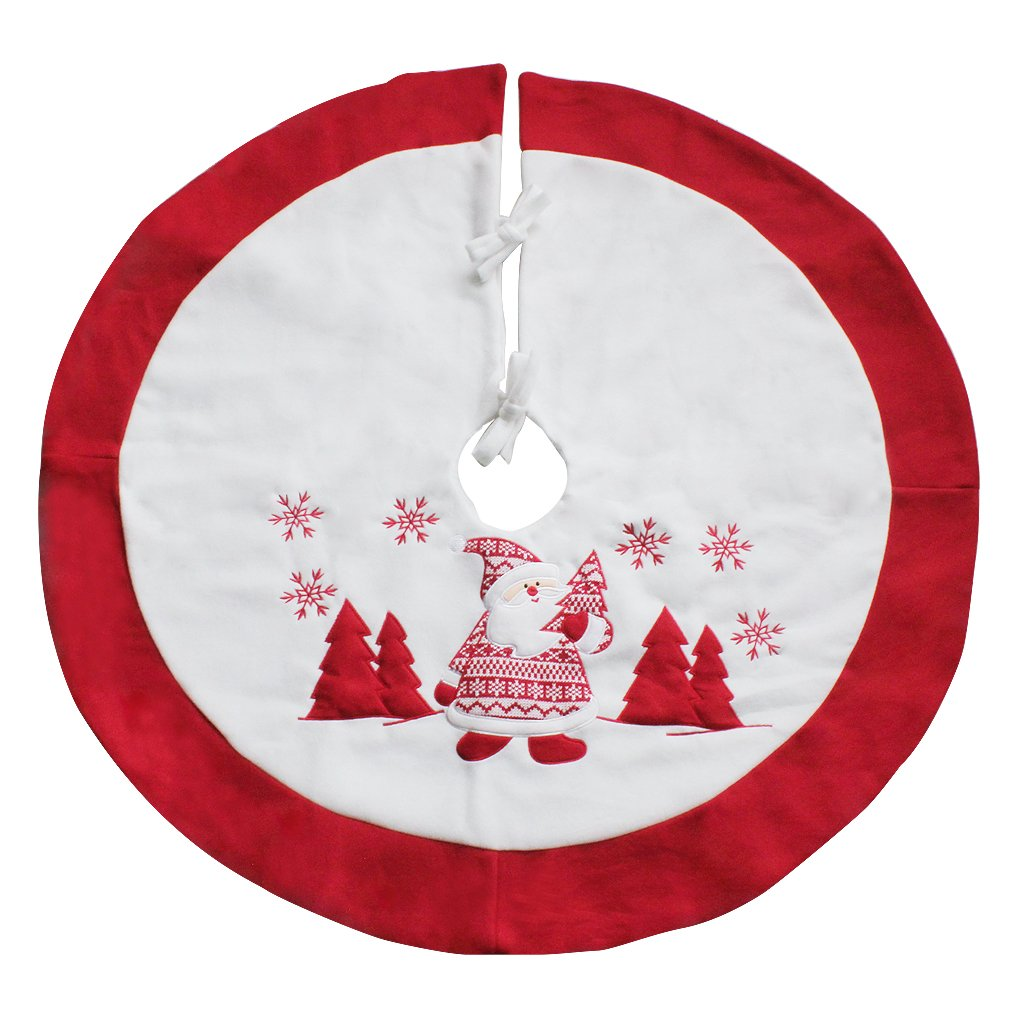 35.4'' Velvet Christmas Tree Skirt Xmas Tree Base Cover Santa Snowy White Tree Apron for Christmas Decoration (Embroidered Patterns)