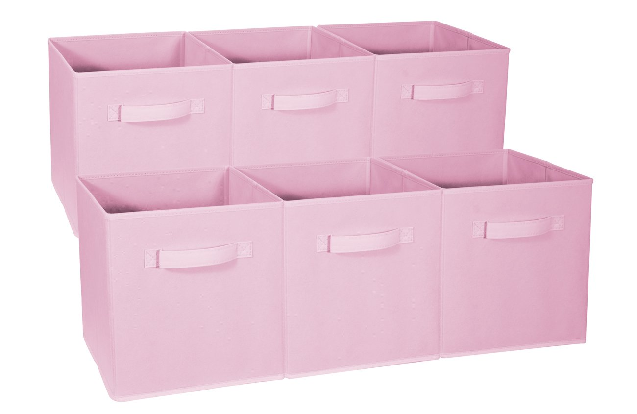 Sorbus Foldable Storage Cube Basket Bin - Great for Nursery, Playroom, Closet, Home Organization (Pastel Pink, 6 Pack)
