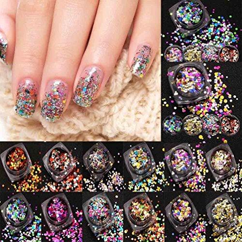 Gotd 12PCS Hot Fashion Mixed Mini Round Thin Nail Art Glitter Paillette Nail Tip Bottle Gel Polish Decoration Manicure Tools