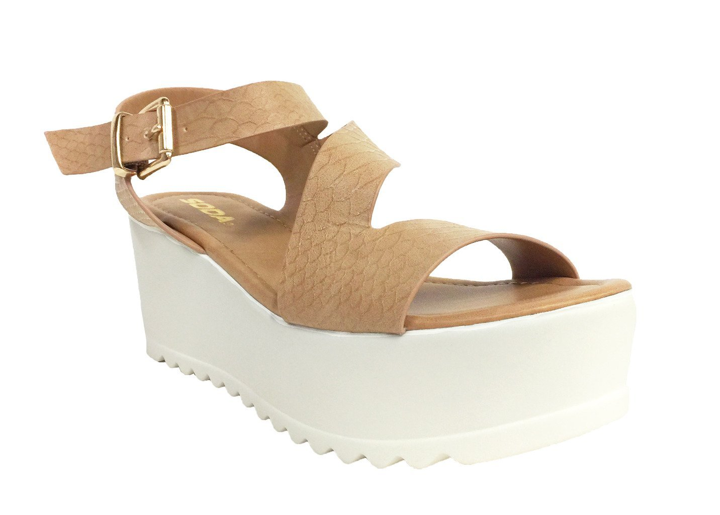 UNVEIL! Women's Open Toe Retro Cross Strap Lug Sole Platform B(M) Wedge Sandals B01GP5D550 7.5 B(M) Platform US|Tan Snake Leatherette 57a6ce