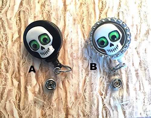 halloween skeleton skull googly eye spring clip Badge ID holder with retractable reel