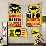 Gzhihine Custom tapestry Outer Space Decor Tapestry Warning Ufo Signs with Alien Faces Heads Galactic Paranormal Activity Design for Bedroom Living Room Dorm 60WX40L Yellow