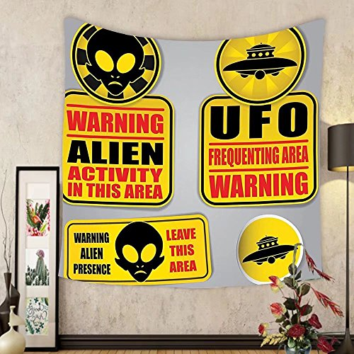 Gzhihine Custom tapestry Outer Space Decor Tapestry Warning Ufo Signs with Alien Faces Heads Galactic Paranormal Activity Design for Bedroom Living Room Dorm 60WX40L Yellow by Gzhihine