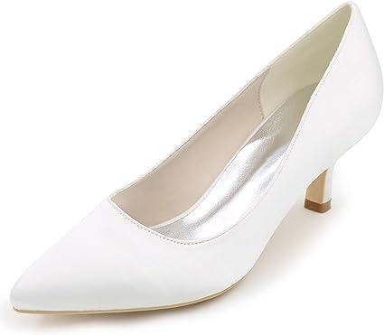 Elobaby Femmes Satin Bout Pointu Chaussures De Mariage Bas