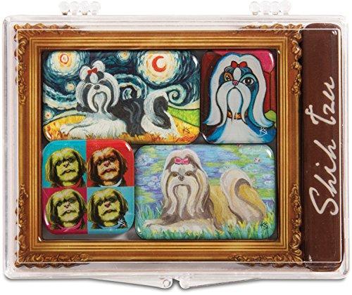 Pavilion Gift Company 12009 Paw Palettes 6-Piece Mini Masterpiece Magnet Set, 4 by 3-1/2-Inch, Shih Tzu (Palette Magnet Artists)
