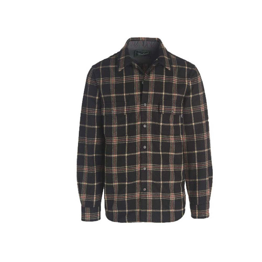 Woolrich Men's Bering Wool Shirt Modern Fit, Black Plaid, Medium