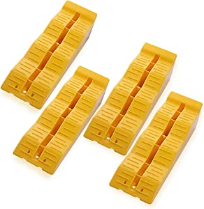 Zone Tech Automotive Multi Leveling Ramps - Set of 4 Yellow Bocks, Premium Quality Camper RV, Truck, Van, Trailer Leveler SUV, Drive-On Leveler Stabilizer and Raise Auto on Uneven Ground and Parking