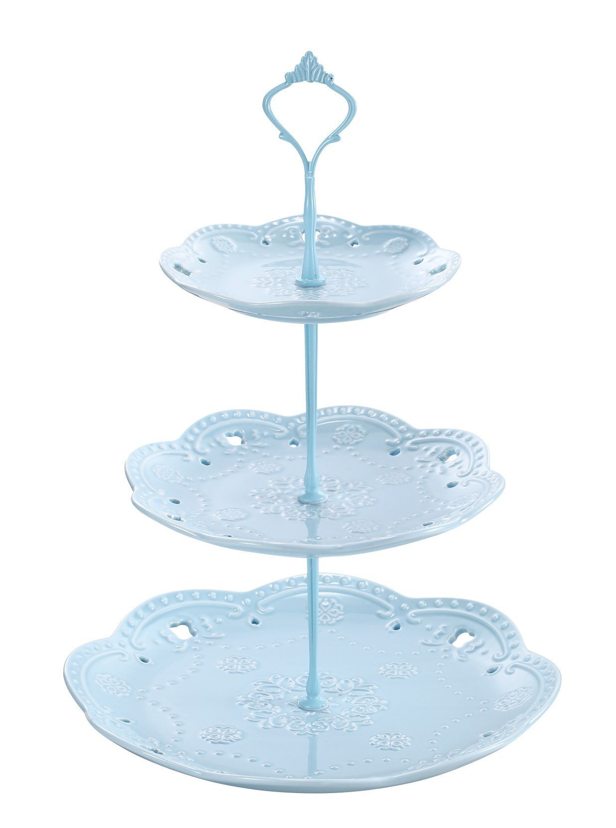 3 -Tier Ceramic Cupcake Stand - Elegant Embossed Porcelain Dessert Display Cake Stand - For Birthday Weddings Tea Party Colorful and Diverse (blue)