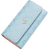 Women Clutch Purse Bag PU Leather Wallet Card Holder Fahion Lady Bag (Light Blue)