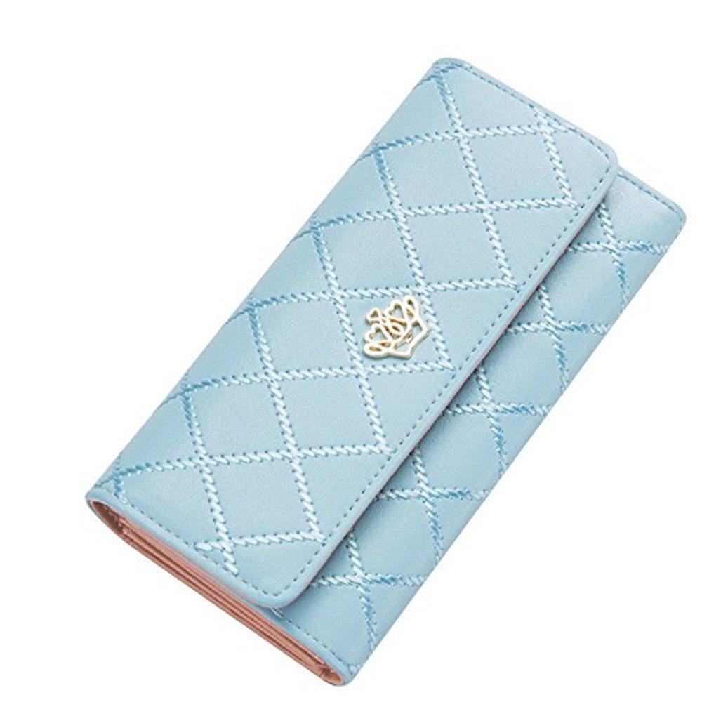 Women Clutch Purse Bag PU Leather Wallet Card Holder Fahion Lady Bag (Light Blue) Qiqilei