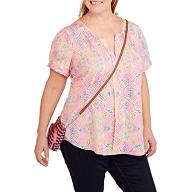 e0b7bc46fd819 Image Unavailable. Image not available for. Color  Millenium Women Tunic  Top Plus Size 1X Pink Geometric Short Sleeves Pullover