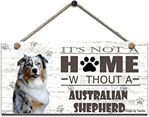 It's Not A Home Without Australian Shepherd Retro Wooden Public Decorative Hanging Sign for Home Door Fence Vintage Wall Plaques Decoration(5x10Inches)