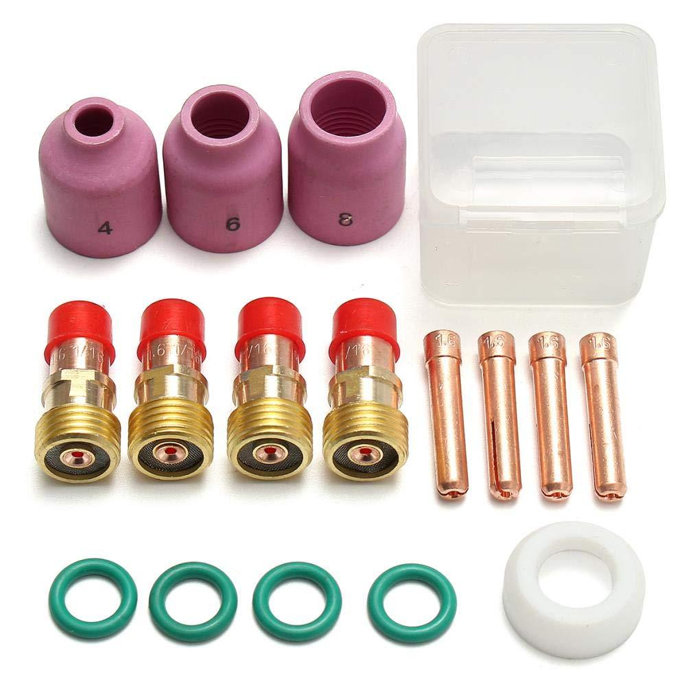 18//26 1.6mm 1 Yongse 17pcs TIG Stigby Gas Lens Accessory Lens Kit WP17 16inch