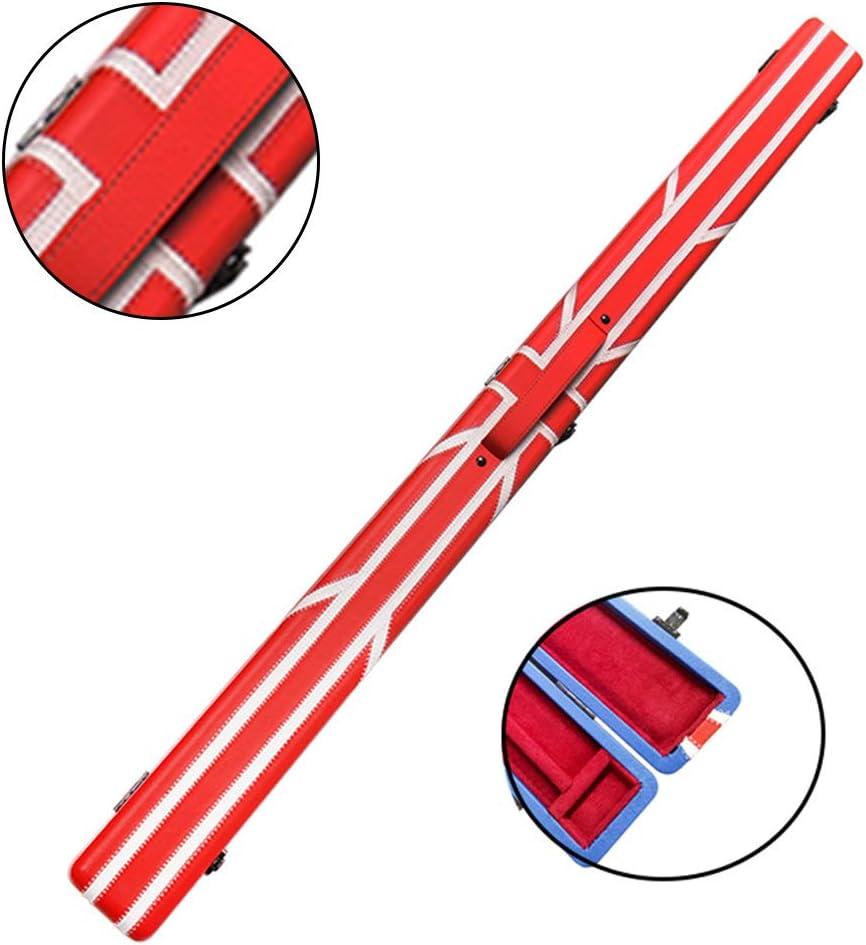 YBDXMMレトロスヌーカープールCueのためのチョーク区画とプールキューケース、PUイミテーションレザー3/4接合スヌーカークラブボックス、,赤_121.5cm/47.8inch 赤 121.5cm/47.8inch