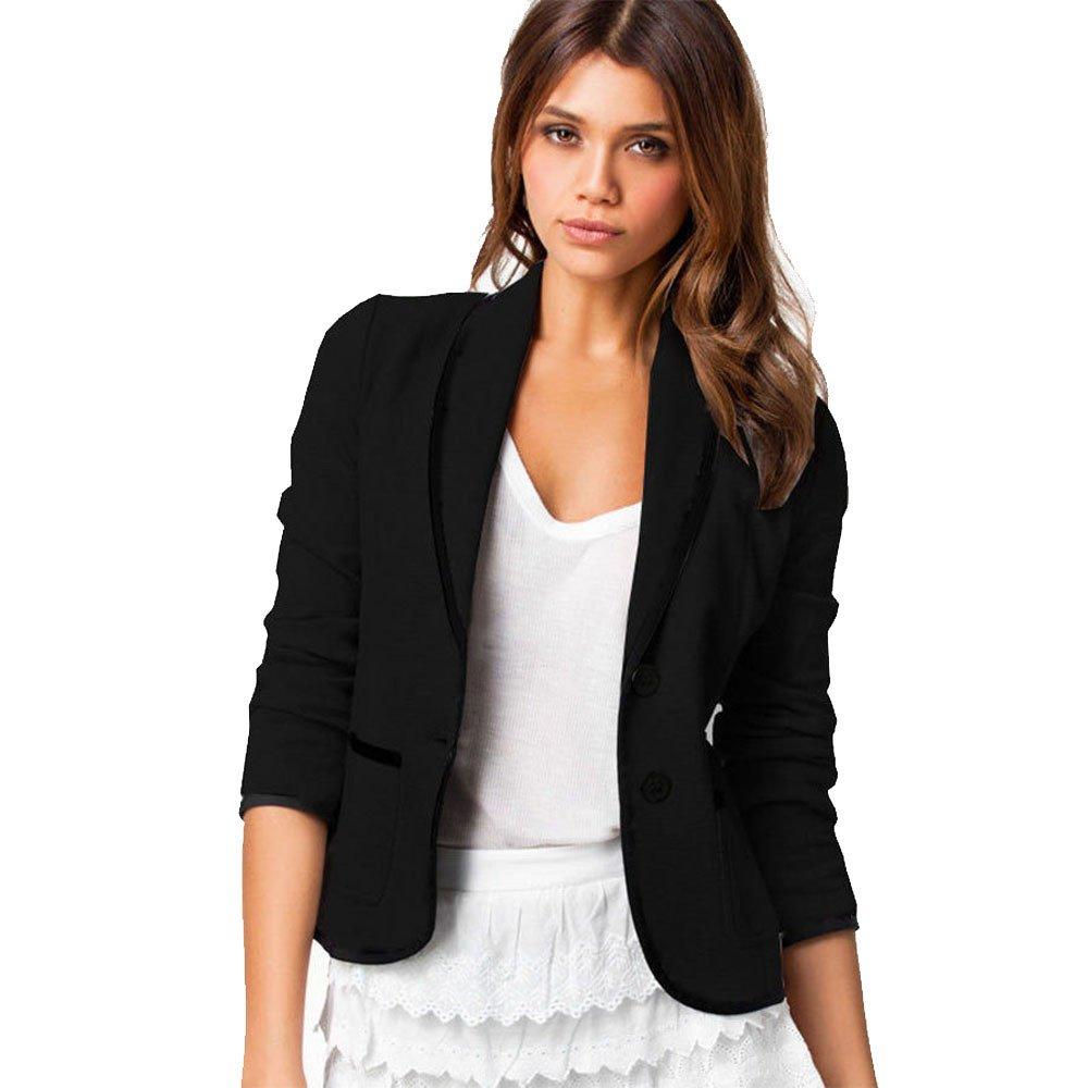 WUAI Womens Jackets for Work, Formal Business Lightweight Jackets Open Front Short Blazer Cardigan Plus Size(Black,Large)